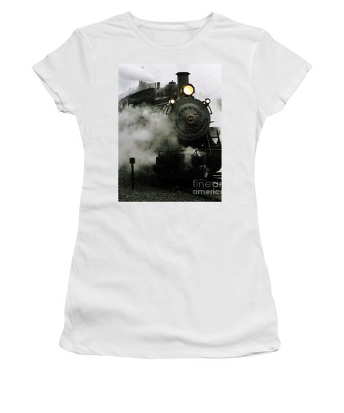 Engine Number 40 Making Steam Pulling Into New Hope Passenger Train Terminal Women's T-Shirt (Athletic Fit)