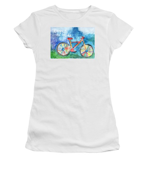 Enjoy The Ride- Colorful Bike Painting Women's T-Shirt