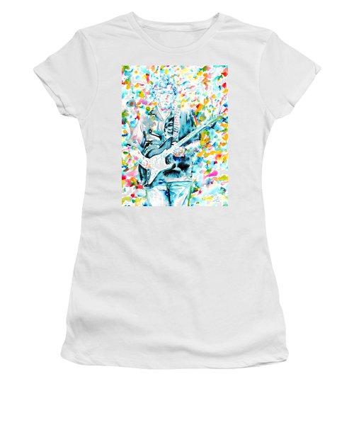 Eric Clapton - Watercolor Portrait Women's T-Shirt (Junior Cut) by Fabrizio Cassetta