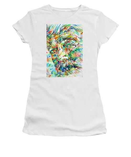 Ernest Hemingway Watercolor Portrait.1 Women's T-Shirt (Junior Cut) by Fabrizio Cassetta