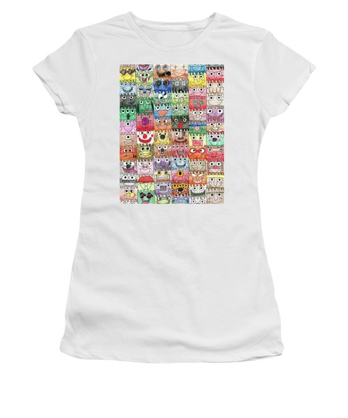 Faces Puzzle Poster Women's T-Shirt (Athletic Fit)