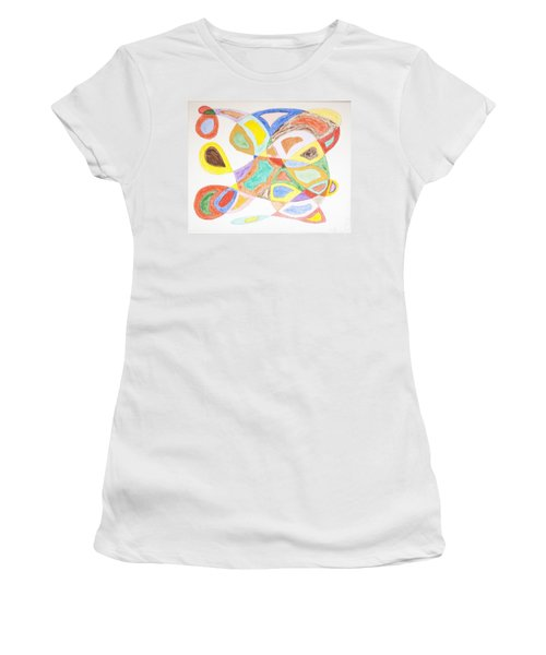 Women's T-Shirt (Junior Cut) featuring the painting Masks by Stormm Bradshaw