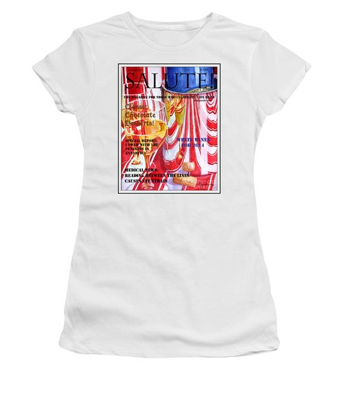 Women's T-Shirt (Junior Cut) featuring the painting Faux Magazine Cover by Mariarosa Rockefeller