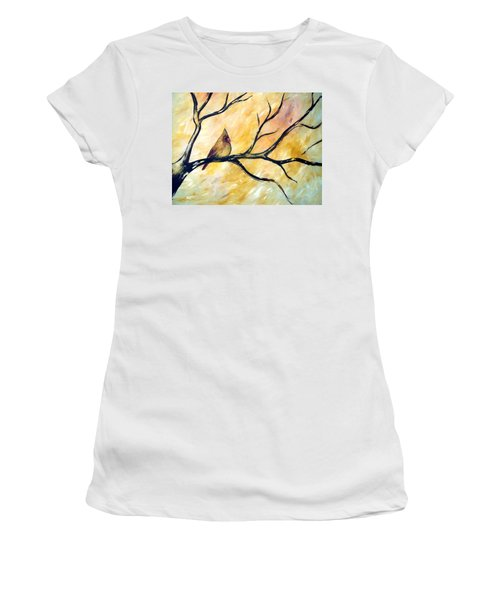 Women's T-Shirt featuring the painting Female Cardinal by Cynthia Amaral