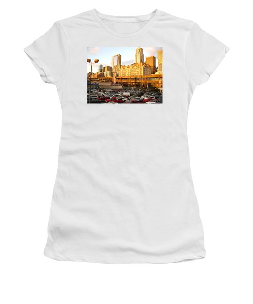 Ferry Lines At Sunset Women's T-Shirt (Junior Cut) by David Trotter