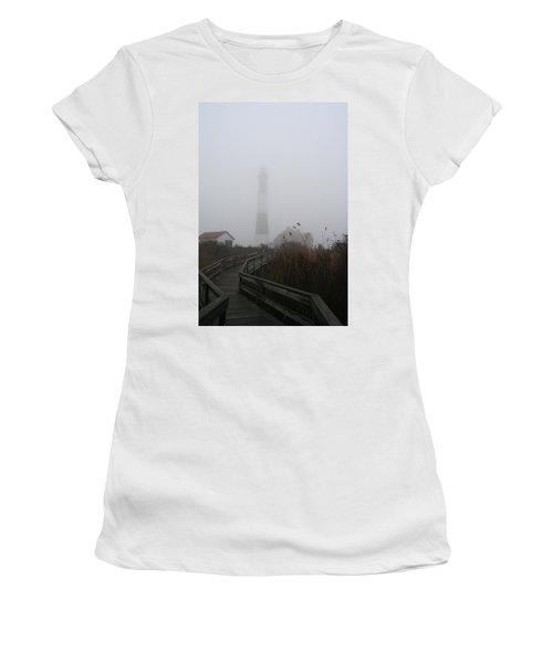 Fire Island Lighthouse In Fog Women's T-Shirt