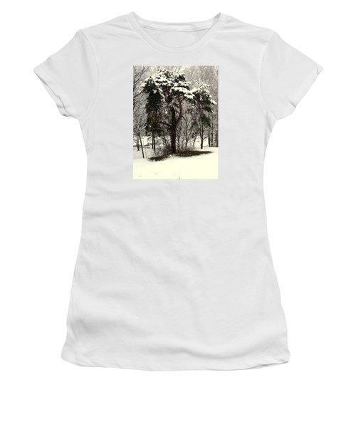 First Snow Women's T-Shirt (Junior Cut) by Henryk Gorecki
