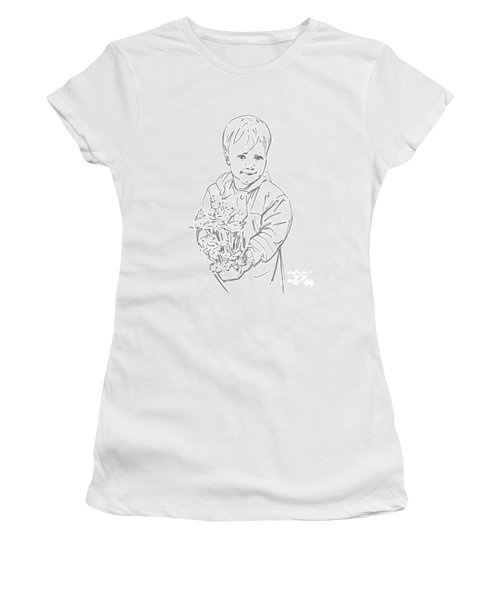 Women's T-Shirt (Junior Cut) featuring the drawing First Time Growing Strawberries  by Olimpia - Hinamatsuri Barbu
