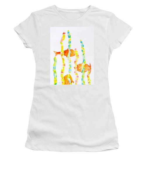 Women's T-Shirt (Junior Cut) featuring the painting Fish Fun by Michele Myers