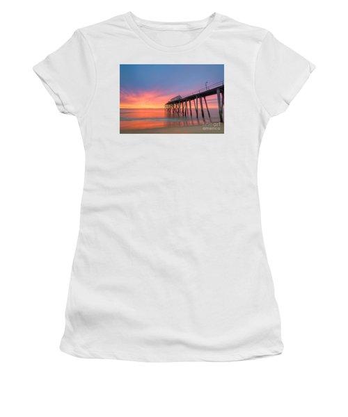Fishing Pier Sunrise Women's T-Shirt (Athletic Fit)