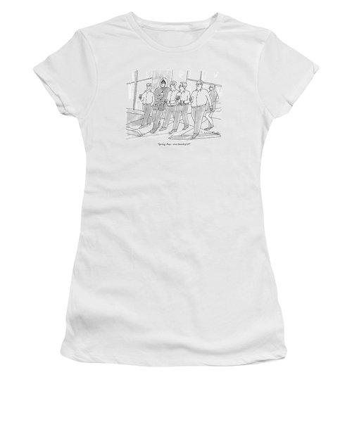 Five Guys Walking. One Is Wearing A Winter Coat Women's T-Shirt