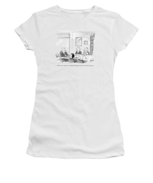 Five People Sit Around A Conference Table Women's T-Shirt