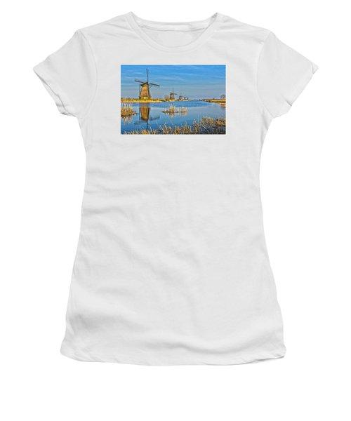 Five Windmills At Kinderdijk Women's T-Shirt (Athletic Fit)