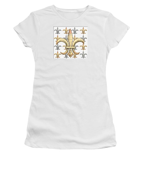 Fleur De Lys Silver And Gold Women's T-Shirt (Athletic Fit)