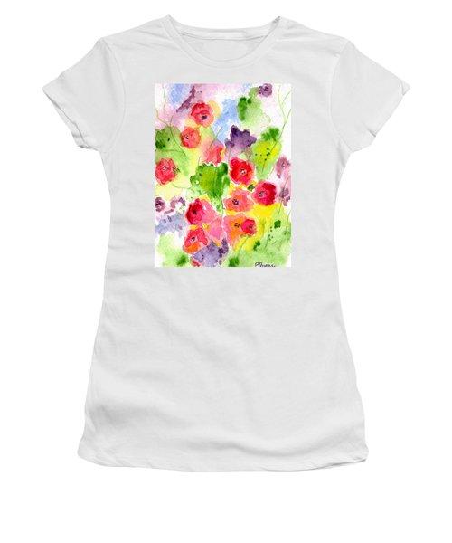 Floral Fantasy Women's T-Shirt (Junior Cut) by Paula Ayers