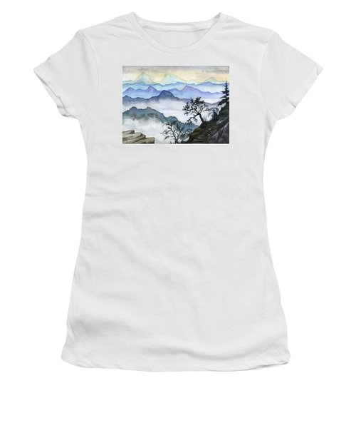 Foggy Mountaines Sunset View  Women's T-Shirt (Athletic Fit)