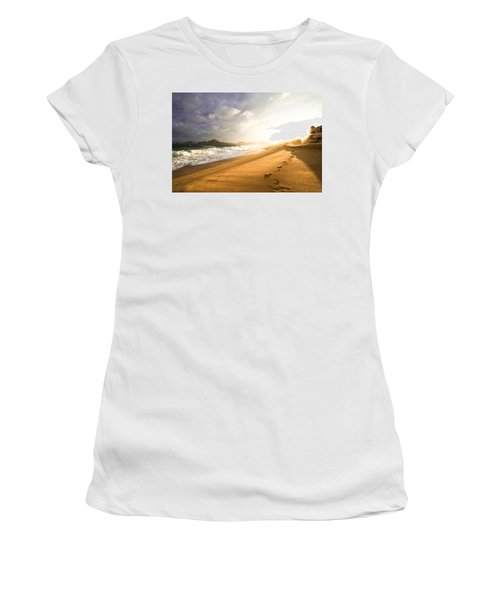 Women's T-Shirt (Junior Cut) featuring the photograph Footsteps In The Sand by Eti Reid