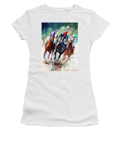 Women's T-Shirt (Athletic Fit) featuring the painting For The Roses by Hanne Lore Koehler