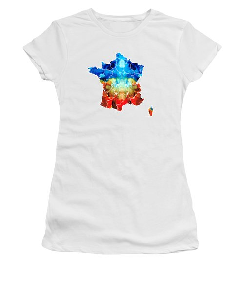 France - European Map By Sharon Cummings Women's T-Shirt (Athletic Fit)