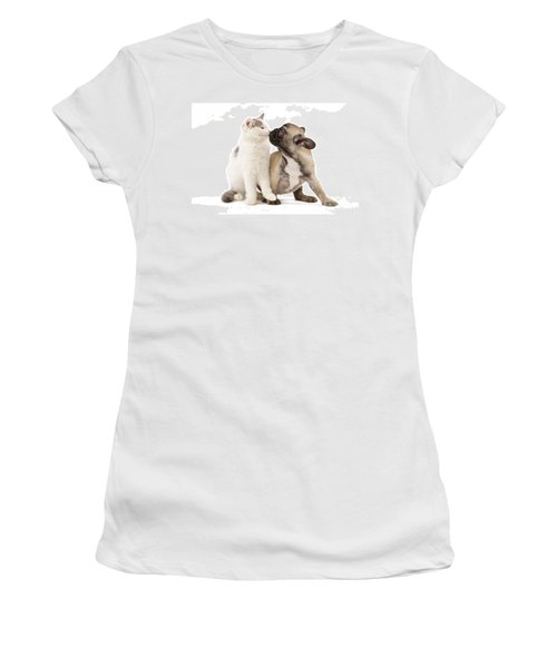 French Bulldog With Kitten Women's T-Shirt
