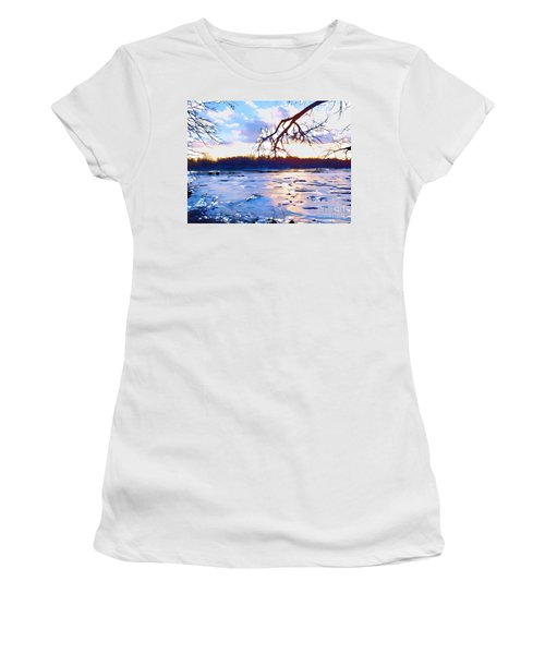 Frozen Delaware River Sunset Women's T-Shirt