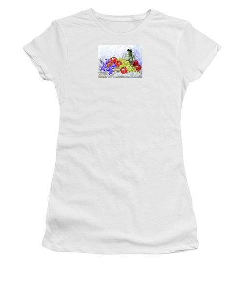 Women's T-Shirt (Junior Cut) featuring the painting Fruit After Him by Jasna Dragun
