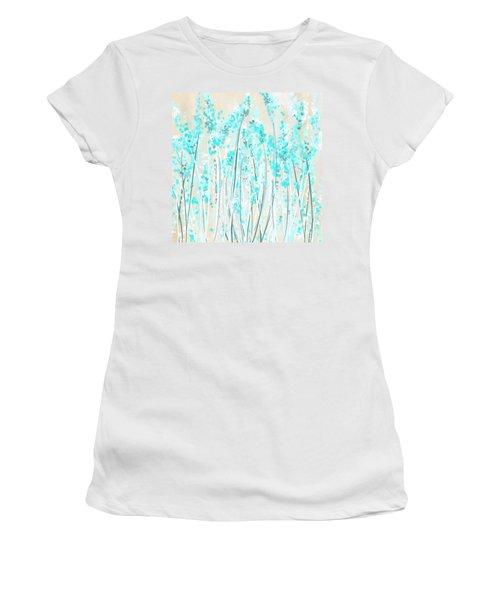 Garden Of Blues- Teal And Cream Art Women's T-Shirt