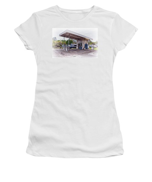 Women's T-Shirt (Junior Cut) featuring the photograph Gasoline Station by Jim Thompson