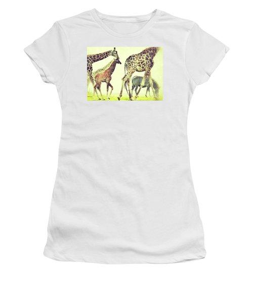 Giraffes And A Zebra In The Mist Women's T-Shirt
