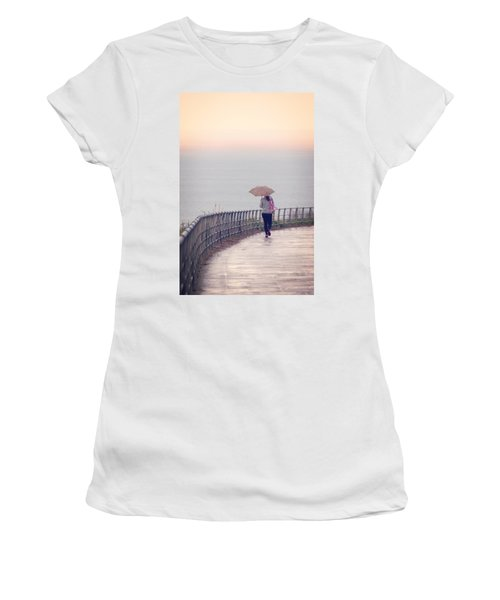 Girl Walking With Umbrella Women's T-Shirt