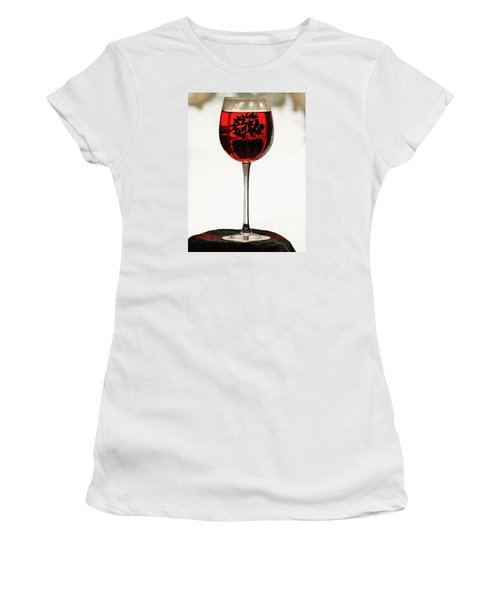 Women's T-Shirt (Junior Cut) featuring the photograph Glass Of Wine... by Al Fritz