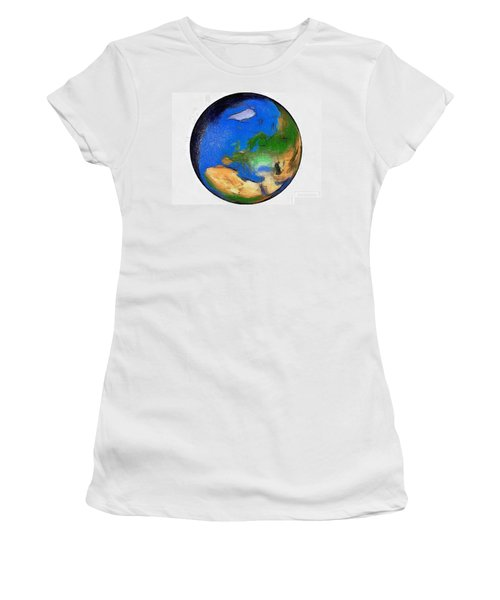 Women's T-Shirt (Junior Cut) featuring the painting Globe 3d Picture by Georgi Dimitrov