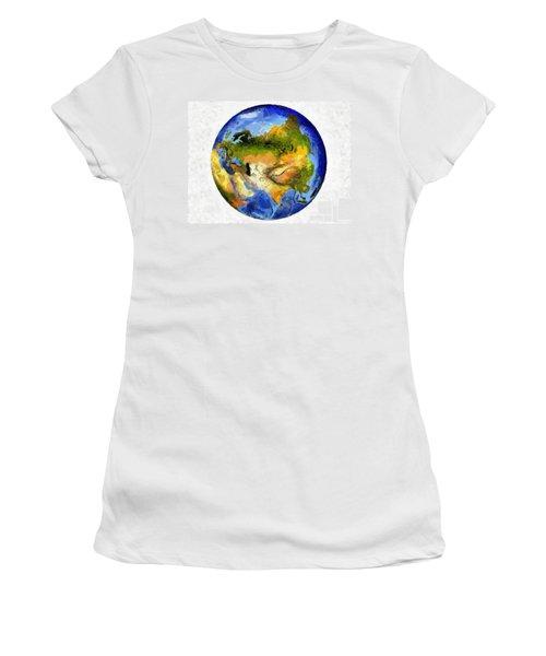 Women's T-Shirt (Junior Cut) featuring the painting Globe World Map by Georgi Dimitrov