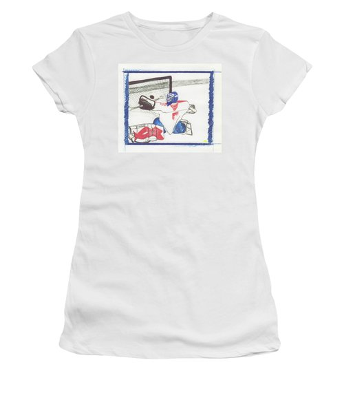 Women's T-Shirt (Junior Cut) featuring the drawing Goalie By Jrr by First Star Art