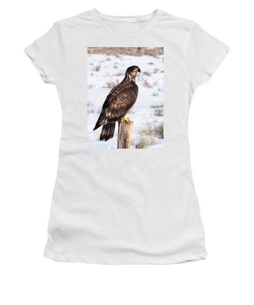 Golden Eagle On Fencepost Women's T-Shirt (Junior Cut) by Nadja Rider