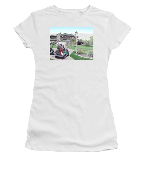 Women's T-Shirt (Junior Cut) featuring the painting Golf Seven Springs Mountain Resort by Albert Puskaric