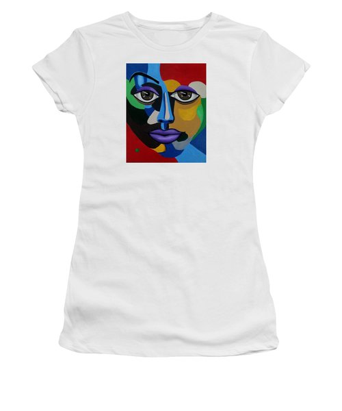 Google Me - Abstract Art Painting - Colorful Abstract Face - Ai P. Nilson Women's T-Shirt (Athletic Fit)