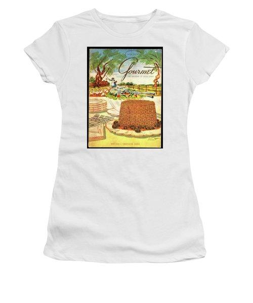 Gourmet Cover Featuring A Buffet Farm Scene Women's T-Shirt