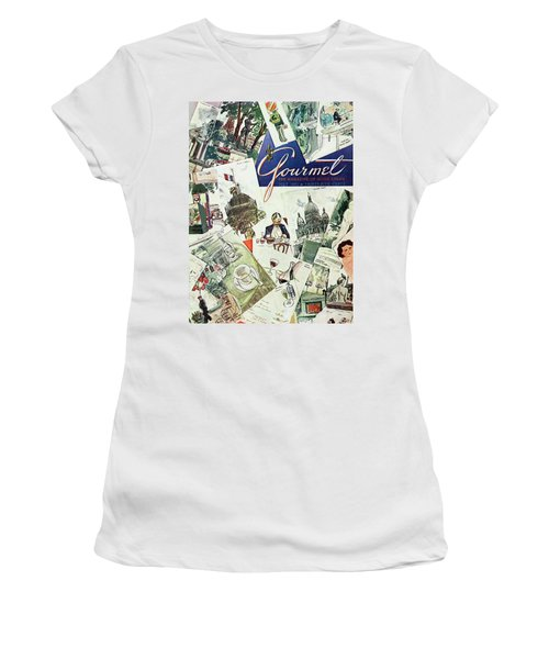 Gourmet Cover Illustration Of Drawings Portraying Women's T-Shirt