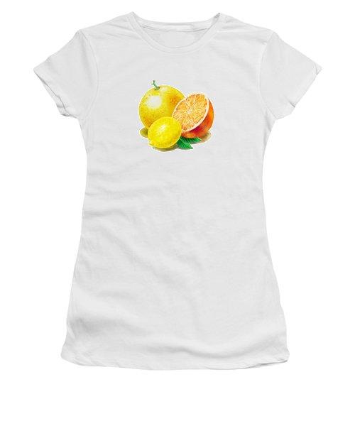 Grapefruit Lemon Orange Women's T-Shirt (Junior Cut) by Irina Sztukowski