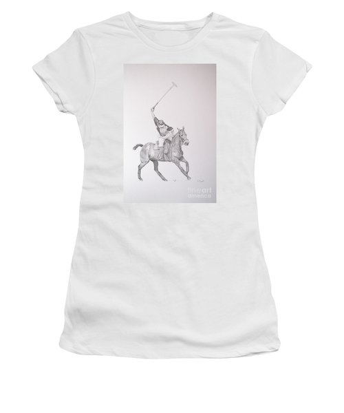 Graphite Drawing - Shooting For The Polo Goal Women's T-Shirt (Athletic Fit)