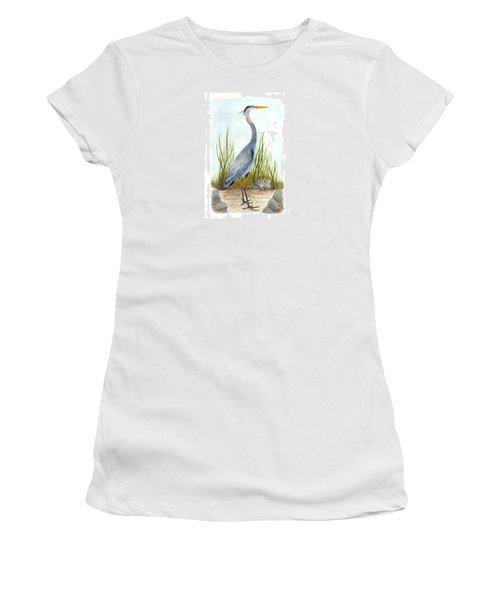 Great Blue Heron Women's T-Shirt (Junior Cut) by Cindy Hitchcock