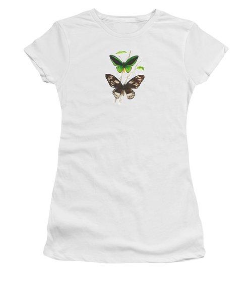 Green Birdwing Butterfly Women's T-Shirt (Junior Cut) by Cindy Hitchcock