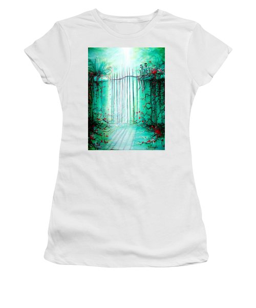 Green Skeleton Gate Women's T-Shirt (Athletic Fit)