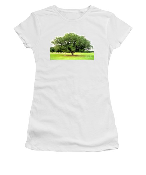 Women's T-Shirt (Junior Cut) featuring the photograph Green Tree by Oksana Semenchenko