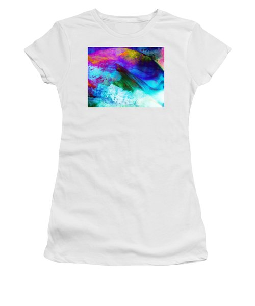 Women's T-Shirt (Junior Cut) featuring the painting Green Wave - Vibrant Artwork by Lilia D