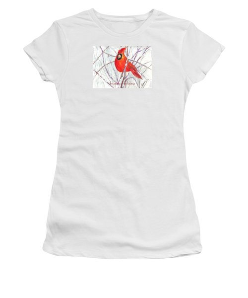 Happy Holidays Snow Cardinal Women's T-Shirt (Athletic Fit)