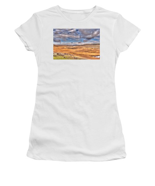 Hayden Valley Bison On Yellowstone River Women's T-Shirt (Athletic Fit)