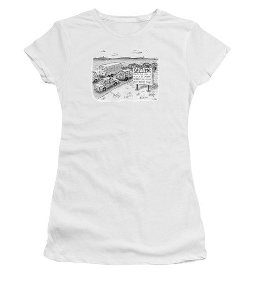 Highway Sign -- Caution: Multi-ton Vehicles Women's T-Shirt