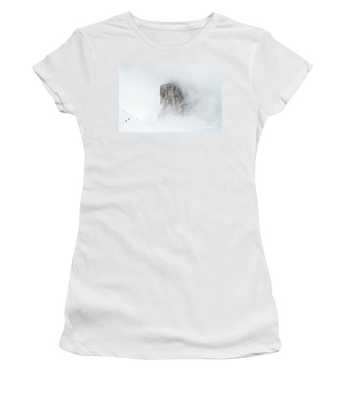 Hiking The Tre Cime In Winter Women's T-Shirt (Junior Cut) by IPics Photography